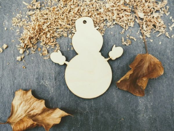 Laser 4mm Plywood Snowman Shapes, pack of 10